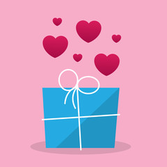 Gift package with pink hearts