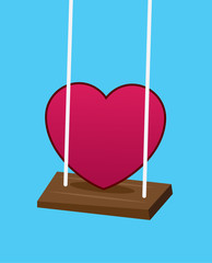 Heart swinging on a swing