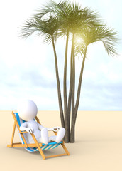 3d man sitting in a deckchair on the beach