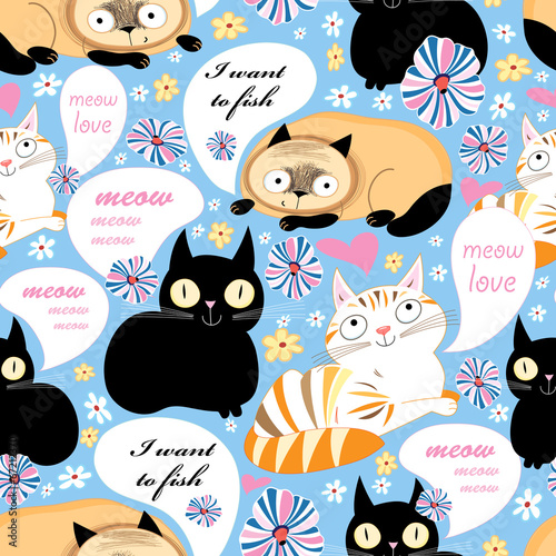 pattern of funny cats
