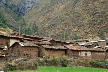 Peruvian village in Cordiliera Huayhuash, Peru, South America
