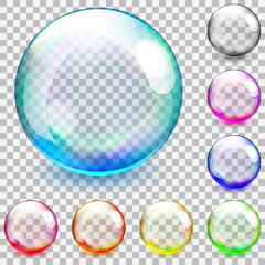 Multicolored transparent glass spheres
