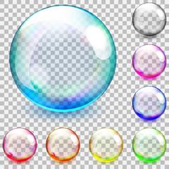 Multicolored transparent glass spheres