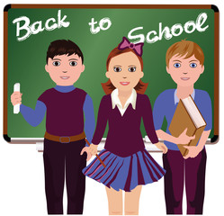 Back to School. Little schoolboys and schoolgirl