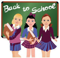 Back to School. Three cute schoolgirls  vector illustration