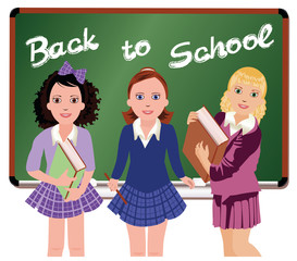 Back to School. Little schoolgirls. vector illustration