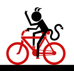 Devil riding a bicycle