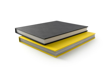 Yellow and black books isolated on white #1.