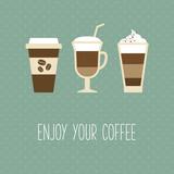 Fototapety Coffee cup, vintage card