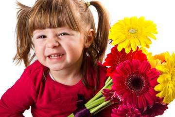 Cute little girl with gerbera flowers bouquet