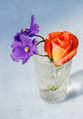 Rose and violet flowers in crystal glass
