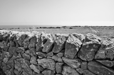 Italy, Sicily, typical hand made sicilian stone wall