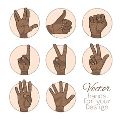 African American vector set of hands