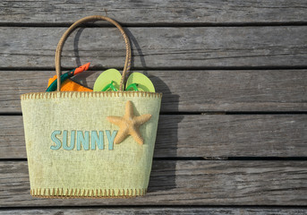 Summer beach bag with text sunny