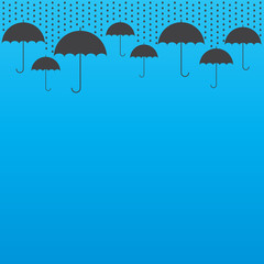 Rain drop background with umbrellas, vector illustration