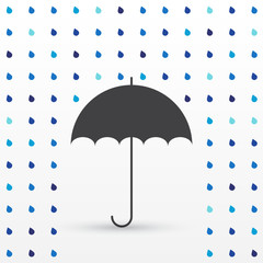 Rain drop background with umbrella, silhouette