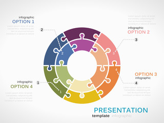 Presentation concept infographic template with circle
