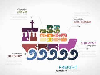 Freight concept infographic template with ship
