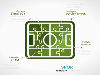 Sport concept infographic template with soccer field