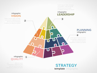 Strategy concept infographic template with pyramid