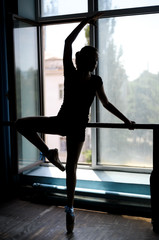 Ballet dancer exercising at the barre by the window