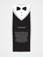 Invitation template, black design with bow tie