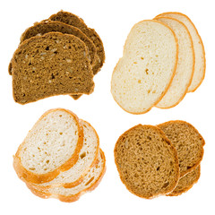 The cut slices of bread