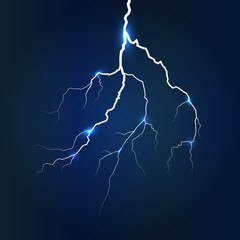 Lightning on dark blue background, vector illustration