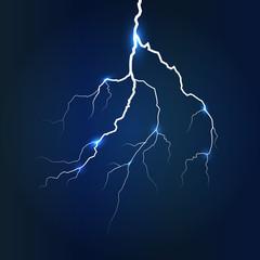 Lightning on dark blue background, vector illustration