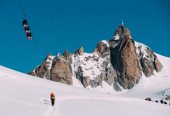Aiguille du Midi peak and Mont-Blanc cable car. Chamonix, France