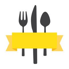 Fork knife spoon with ribbon, vector illustration