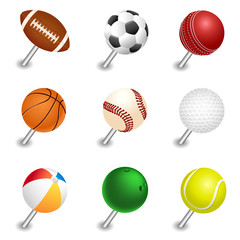 Vector sports ball pointers, push pin set