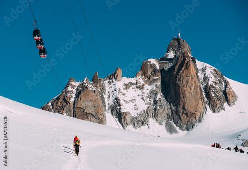 Aiguille du Midi peak and Mont-Blanc cable car. Chamonix, France - 67215529