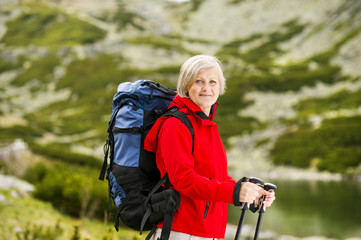 Senior woman hiking