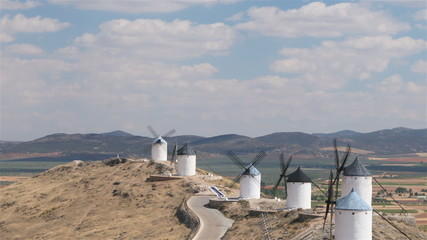 Historic windmills in Castilla-La Mancha, Spain