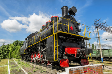Old steam locomotive on the pedestal in the Yelets  locomotive D