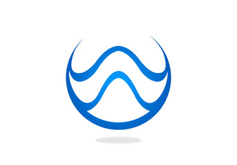 W wave water symbol vector logo