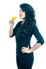 latin girl holding a glass of wine