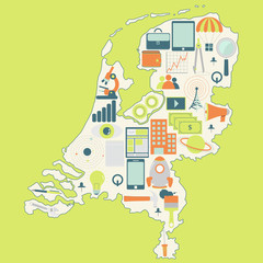 Map of Netherlands with technology icons