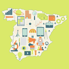 Map of Spain with technology icons
