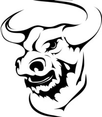 bull head in black interpretation