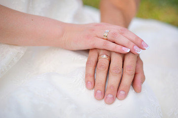 closeup shot of newlyweds hands