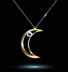 pendant with a large crescent