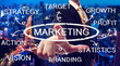 Businessman pointing marketing chart