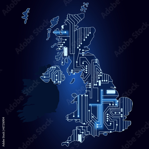 Map of United Kingdom with electronic circuit - 67216904