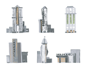 Sketch style Vector of Commercial Buildings. Color version.