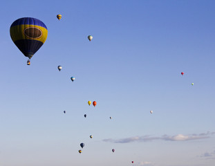 Floating сolorful hot air balloons