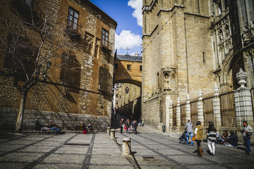 majestic Cathedral of Toledo Gothic style, with walls full of re