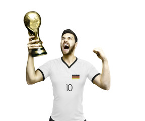 German soccer player celebrates the victory