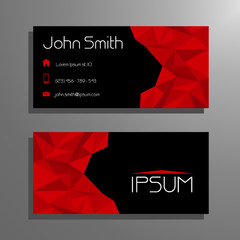 Business card template - red and black polygon pattern